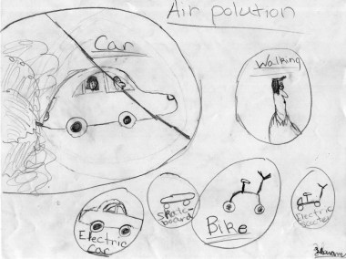 A childs depiction of air pollution and the school journey
